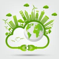 Rettung der Welt mit neuer grüner Energietechnologie vektor