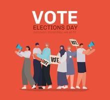 Cartoon-Leute mit Stimmenbeschriftung für den Wahltag vektor