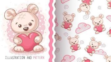 kindliche Zeichentrickfigur Tierbär mit Herz vektor