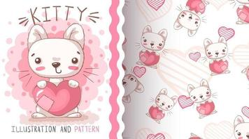 Schönheitskarikaturfigur Tierkatze vektor