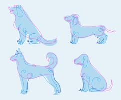 Hund gezeichnet Hand gezeichnete abstrakte Vektor-Illustration