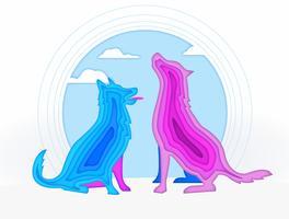 Abstrakter Hund knallen oben Papierschattenbild-Vektor-Illustration vektor