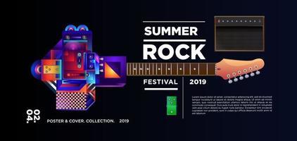 Sommer Rock Musik Festival Banner vektor