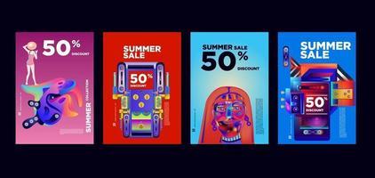 Sommer Musik und Mode Verkauf Rabatt Promotion Banner Vorlage vektor