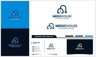 medicinsk hemlogotyp med stetoskop och husikoncept och mall för visitkort