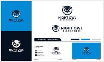 nattuggla-logotyp med månekoncept och mall för visitkort vektor