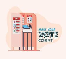Wahlkabine mit machen Sie Ihre Stimme zählen Text Vektor-Design vektor