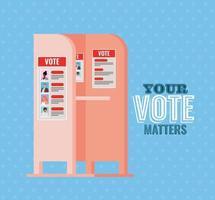 Wahlkabine mit Ihrer Stimme zählt Text Vektor-Design vektor