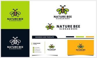 Honigbienenlogo mit Flügelblattkonzept und Visitenkartenschablone vektor