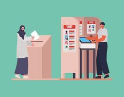 muslimische Frau und Mann mit Abstimmungsbox und Standvektorentwurf vektor