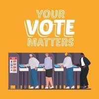 Männer auf der Wahlkabine mit Ihrer Stimme sind Textvektordesign vektor