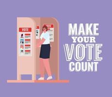 Frau an der Wahlkabine mit machen Ihre Stimme zählen Text Vektor-Design vektor