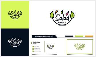 Salatlogo mit Schüssel und Blättern oder Blattkonzept und Visitenkartenschablone vektor