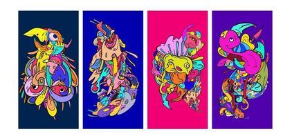 vektor färgglada abstrakt tecknad doodle bakgrundsbanner