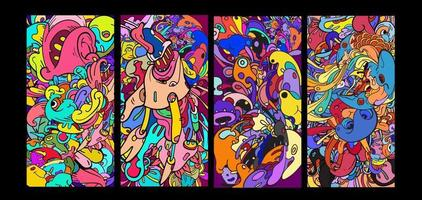 Vektor bunte abstrakte Cartoon Gekritzel Hintergrund Banner