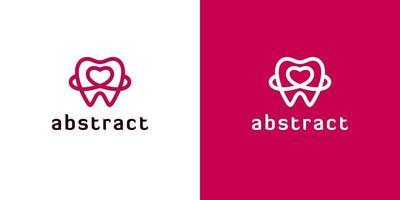 Umreißen Sie zahnärztliche Logos mit Herzformen vektor