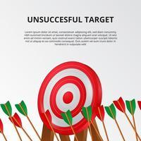 misslyckad misslyckande med bågskyttepil på 3d målkort. miss mål affärs mål illustration koncept. vektor