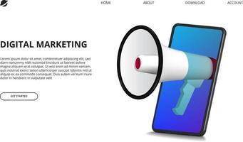 digitales Marketingkonzept mit Illustration des Megaphons mit perspektivischem 3D-Smartphone für Internetwerbung