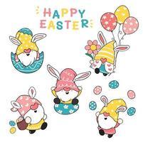 söt kaninöron gnome glad påsk pastell tecknad klotter illustration clip art samling vektor