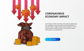 sprida koronavirus ekonomisk påverkan. ekonomisk undergång. drabbade aktiemarknaden och den globala ekonomin. röd pil baiss med pengar väska koncept vektor