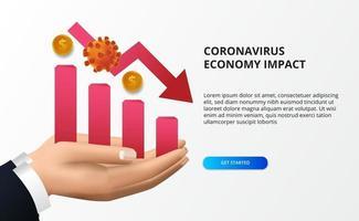 sprida koronavirus ekonomisk påverkan. ekonomisk undergång. drabbade aktiemarknaden och den globala ekonomin. rött diagram och rött baisseartat pilkoncept vektor