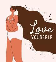 Liebe dich plus Größe Frau in Unterwäsche Vektor-Design vektor