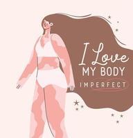 Ich liebe meinen Körper unvollkommen, perfekte Vitiligo Frau in Unterwäsche Vektor-Design vektor