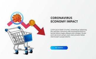 spridningsekonomins inverkan av coronavirus. nedåtgående affärsmarknad. illustration av 3d vagn med baisspil och ncov 2019 vektor