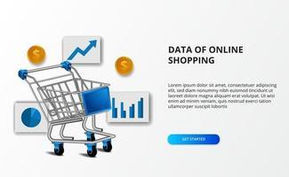 uppgifter om e-handel online. illustration av shoppingvagn med datakarta och gyllene pengar.
