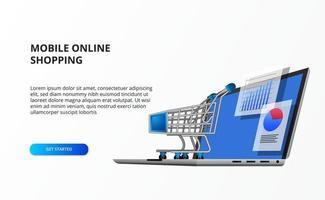 Perspektive 3d Computer Laptop Illustration mit Datenstatistik und Trolley Cart. Konzept der Einzelhandelsdaten Online-Business E-Commerce