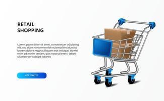 Einzelhandelsgeschäft-Einkaufskonzept mit Wagenillustration und Kartonverpackung. Marktforschungsgeschäft.