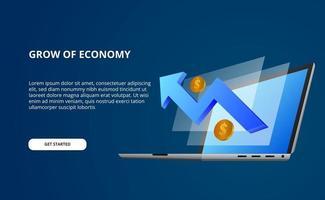 Wachstumsökonomie durch Daten mit 3D-Illustration des perspektivischen Laptop-Computers und des Bildschirms mit blauem bullischem Pfeil und goldenem Geld vektor