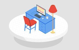 Vektor isometrisk skrivbordsillustration