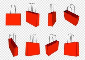 Satz rote Einkaufstaschen Modell. transparenter Hintergrund isoliert vektor