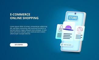 3D-smartphone-perspektiv med ui-design av e-handel eller online-shoppingapp med blå glödskärm vektor