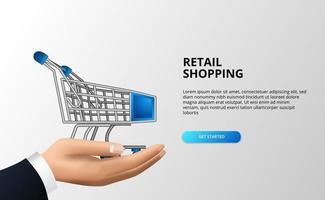 Einzelhandelseinkaufskonzept mit 3D-Wagen auf dem Handgeschäftsmann. abstrakter Ausgabenwagen am Markt oder im Geschäft