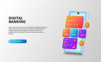 Bankfinanzierungs-Dashboard-UI-Designkonzept für Zahlung, Bank, Finanzen mit Kreditkarte, goldene Münze, 3D-Perspektive Smartphone vektor