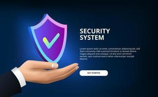 3D-Schutzschild für Sicherheitssystem, Virenschutz, Hacking und digitales Netzwerk mit Schutzschild und Hand für Unternehmen vektor