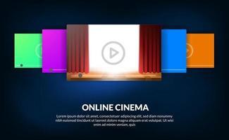 Karussell von Filmen für Online-Streaming-Videokino-Konzept mit roter Vorhang-Bühnenshow für Filmvorschau vektor