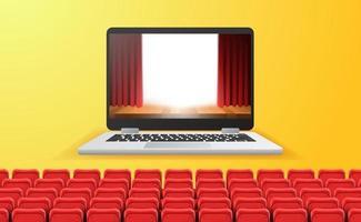 Online-Kino-, Video- und Film-Streaming mit Device-at-Home-Konzept. Bühnenshow mit rotem Vorhang auf dem Laptop-Bildschirm mit leeren roten Sitzen vektor