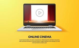 Online-Kino-, Video- und Film-Streaming mit Device-at-Home-Konzept. Bühnenshow mit rotem Vorhang auf dem Bildschirm des Laptops. vektor