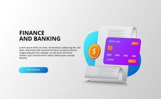 Finanz- und Bankkonzept. Geschäftszahlungs- und Einkaufsrechnungen und Schuldentransaktionen. 3d Kreditkarte, goldene Münze. vektor