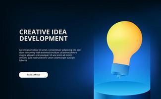 moderne blaue Beleuchtungsfarbe mit schwebender gelber 3D-Lampenillustration für kreative Idee und Brainstorming.