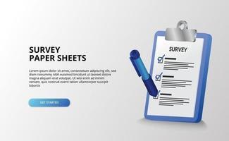 3D-Bericht Zwischenablage Vermessungsprüfungsdokument zu tun Liste Checkliste mit 3D-Stift Zeichen Illustration zu tun
