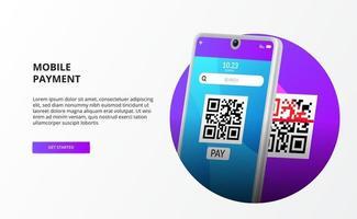 mobilbetalning med skannad QR-kod för kontantlöst samhälle för modern bank med 3d-telefon vektor