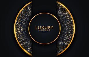 lyxig elegant bakgrund med guldcirkelelement och prickpartiklar på mörk yta. layout för affärspresentation vektor