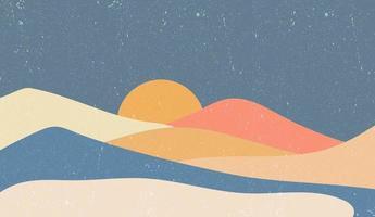 kreativer minimalistischer handgemalter Hintergrund der abstrakten Künste. Naturgebirgslandschaftsmalerei mit japanischem Wellenmustervektor. vektor