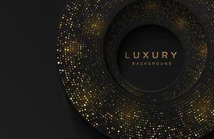 Luxus elegante 3d Form Hintergrund mit schimmernden Gold gepunkteten Muster auf schwarz isoliert. abstrakter realistischer Papierschnitthintergrund. elegante Vorlage vektor