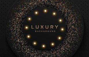 eleganter Luxushintergrund mit glänzendem Goldpunktmuster und Glühbirne lokalisiert auf Schwarz. abstrakter realistischer Papierschnitthintergrund. elegante Vorlage vektor