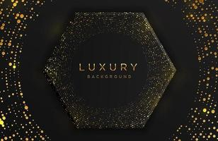 Luxus elegante 3d Sechseck Form Hintergrund mit schimmernden Gold gepunkteten Muster und Linien auf schwarz isoliert. abstrakter realistischer schwarzer Papierschnitthintergrund. elegante Vorlage vektor